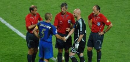 Italy and France captains, Fabio Cannavaro & Fabien Barthez, before the penalty shootout at Germany 2006