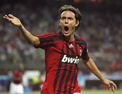 Inzaghi celebrates his 1st goal in the match