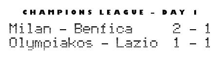 Champions League day 1 - Milan-Benfica & Olympiakos-Lazio final scores