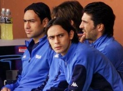 Inzaghi & Nesta on the Azzurri bench, back in the day