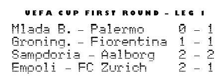 UEFA Cup day 1 - Palermo & Empoli win, Fiorentina & Sampdoria tie