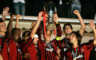 Captain Ambrosini hoists the UEFA Super Cup