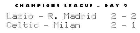 Champions League day 2 - Lazio 2-2 Real Madrid, Celtic 2-1 Milan