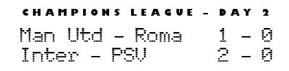 Champions League day 2 - Man Utd 1-0 Roma, Inter 2-0 PSV Eindhoven