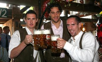Klose, Toni, and Ribery at the Oktoberfest