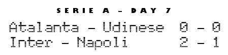 Serie A Matchday 7 Saturday - Atalanta 0-0 Udinese, Inter 2-1 Napoli