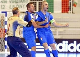 Nando Grana (right) celebrates his opener with Carlos Morgado and goalkeeper Alexander Feller