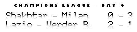 Champions League day 2 - Shakhtar Donetsk 0-3 Milan, Lazio 2-0 Werder Bremen