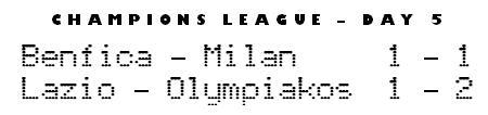 Champions League day 5 - Benfica 1-1 Milan, Lazio 1-2 Olympiakos