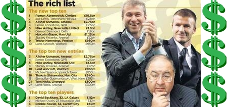 The Four Four Two page with the 2007 'Rich List'