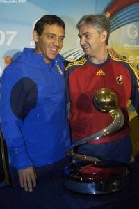 Mutual respect between Italy coach Alessandro Nuccorini (left) and Spain's José Venancio