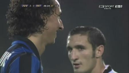 The stare between Giorgio Chiellini and Zlatan Ibrahimovic. Priceless.