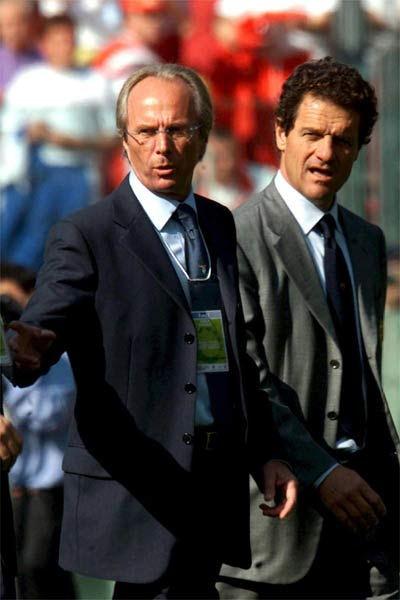 Capello and Sven-Goran Eriksson during the time when the former England manager was still with Lazio. At the time, the Swede was the first foreign coach to sit on the England bench. The English FA are now trying it again with Capello.