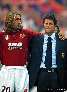 In 2001 Capello led a star-studded Roma squad, which included Gabriel Batistuta (pictured), to the Scudetto