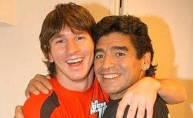 Lionel Messi with Diego Armando Maradona
