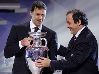 Marco Van Basten (left) with UEFA president Michel Platini, during the Euro 2008 draw