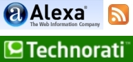 Alexa, RSS, and Technorati icons