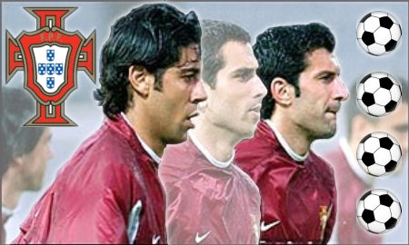 Luìs Figo & Manuel Rui Costa during a practice session with Portugal