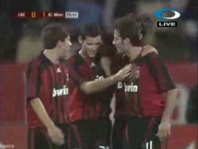 Alberto Gilardino congratulated by his teammates, after the 1-0 goal
