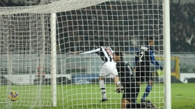 The ball is in the net, Juve have just went ahead 2-1 with Vincenzo Iaquinta