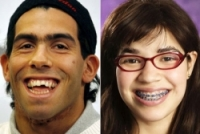 "Carlos Tevez (left) with America Ferrera, the actress playing the American version of ""Ugly Betty"""