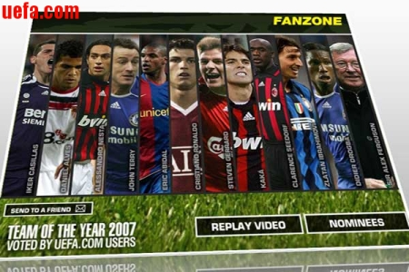 UEFA Soccer Team of the Year 2007 on mCalcio