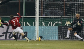 Massimo Ambrosini tackles… the ball into the net. 1-1.