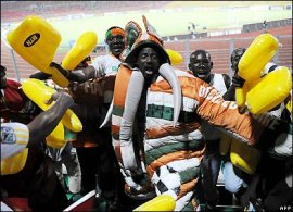 Ivory Coast fans letting their presence known with colorful costumes