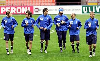 A moment from Monday's practice session in San Siro. From left to right: Massimo Ambrosini, Andrea Pirlo, Luca Toni, Gigi Buffon, Fabio Cannavaro, and Daniele De Rossi.
