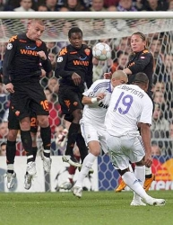 Julio Baptista's thundering free-kick… finds the Roma crossbar