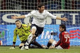 Rolando Bianchi celebrates after giving Lazio the lead