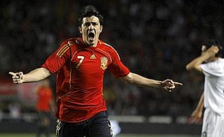 David Villa celebrates after his stunning goal vs. Italy (March 26, 2008)