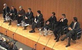 Public figures present for the unveiling of 'Gazzetta in English'. Left to right: Raffaele Pagnozzi, Gianni Petrucci, Beppe Severgnini, Carlo Verdelli, Diego Antonelli, Gianfranco Zola, Roberto Donadoni and Pierluigi Casiraghi