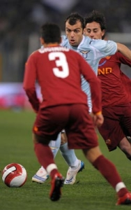 Goran Pandev in action during Lazio-Roma