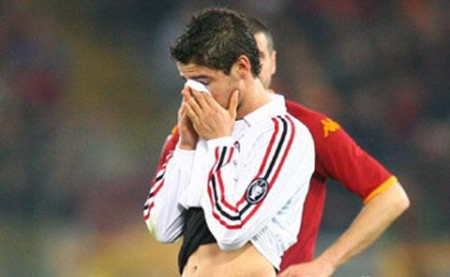Alexandre Pato shows his disappointment at the end of the match