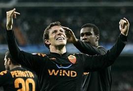 Rodrigo Taddei celebrates after scoring the goal putting Roma in the lead