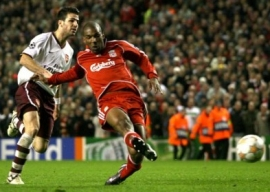 Liverpool's Ryan Babel scores the sixth goal of the match (Liverpool vs. Arsenal, UEFA Champions League, 2007-08)