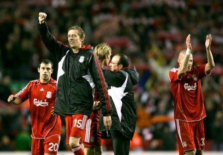 Peter Crouch and his Liverpool teammates celebrate after the final whistle (Liverpool vs. Arsenal, UEFA Champions League, 2007-08)