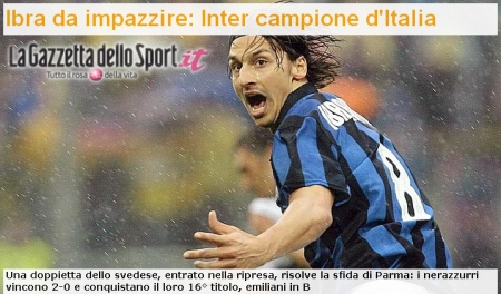 Gazzetta.it\'s headline: \