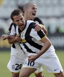 Juventus Turin's forward Alessandro Del Piero (front) celebrates with teammate midfielder Sebastian Giovinco after he scoring during their Italian Serie A football match against Palermo on October 5, 2008 at the Olympic Stadium in Turin. (AFP/Getty Images)