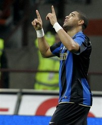 Inter Milan Brazilian forward Adriano celebrates after scoring during the Italian Cup soccer match between Inter Milan and Roma, at the San Siro stadium in Milan, Italy, Wednesday, Jan. 21, 2009. (AP Photo by ANTONIO CALANNI)