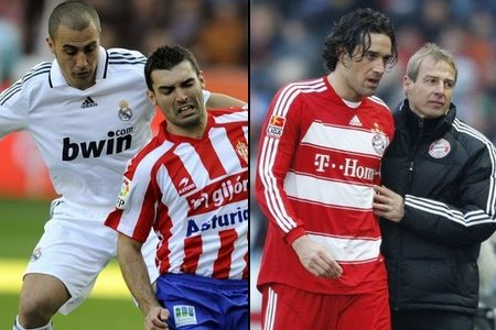 (LEFT) Sporting Gijon's David Barral (R) is tackled by Real Madrid's Fabio Cannavaro during their Spanish first division soccer match at El Molinon stadium in Gijon February 15, 2009. (REUTERS) //// (RIGHT) Bayern Munich's coach Juergen Klinsmann comforts Luca Toni (L) as he is substituted during their German Bundesliga first division soccer match against Hertha Berlin in Berlin, February 14, 2009. (REUTERS)