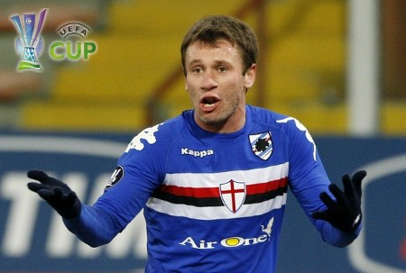 Sampdoria's Antonio Cassano reacts during their UEFA Cup soccer match against Metalist at the Ferraris stadium in Genoa February 18, 2009.  (REUTERS)