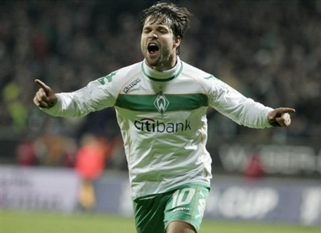 Bremen's Diego reacts after he scored during the UEFA Cup round of 32 first leg soccer match between Werder Bremen and AC Milan in Bremen, Germany, Wednesday, Feb. 18, 2009. The match ended 1-1. (AP Photo by Joerg Sarbach)