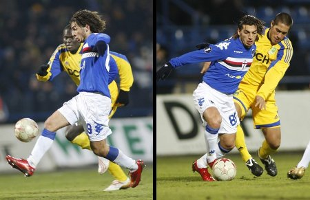 (LEFT:) Metalist's Papa Gueye (L) challenges Sampdoria's Guido Marilungo during their UEFA Cup soccer match in Kharkiv February 26, 2009. (RIGHT:) Metalist's Jonatan Maidana (R) challenges Sampdoria's Guido Marilungo during their UEFA Cup soccer match in Kharkiv February 26, 2009. (REUTERS)