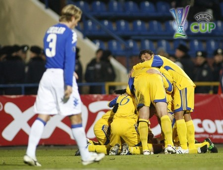 Metalist players celebrate after scoring a goal against Sampdoria during their UEFA Cup soccer match in Kharkiv February 26, 2009.  (REUTERS)