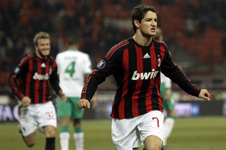 AC Milan's Pato celebrates after scoring a second goal against Werder Bremen during their UEFA Cup soccer match at the San Siro stadium in Milan February 26, 2009. (REUTERS)