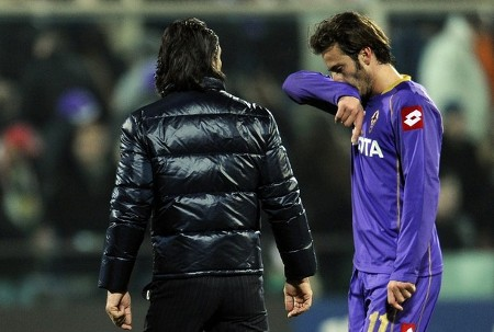 Fiorentina's Alberto Gilardino (R) reacts after loosing against Ajax during their UEFA Cup round of 32 football match at Florence's Artemio Franchi Stadium on February 19, 2009. (AFP/Getty Images)