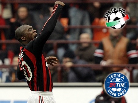 AC Milan's Clarence Seedorf celebrates after scoring against Cagliari during their Italian Serie A soccer match at the San Siro stadium in Milan February 22, 2009. (REUTERS)