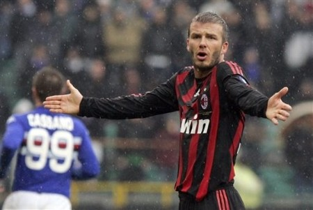 AC Milan English midfielder David Beckham reacts during a Serie A soccer match between Sampdoria and AC Milan, at the Luigi Ferraris stadium, in Genoa, Italy, Sunday, March 1, 2009.  (AP Photo)